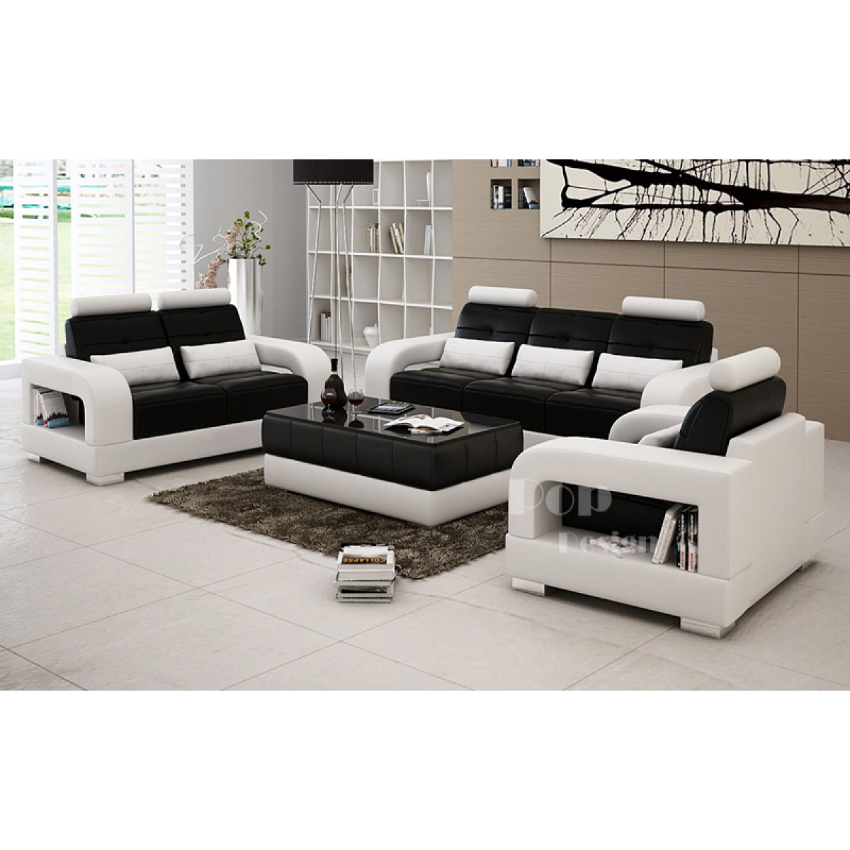 Salon set canap s personnalisable en cuir design salerno - Salon de luxe en cuir ...