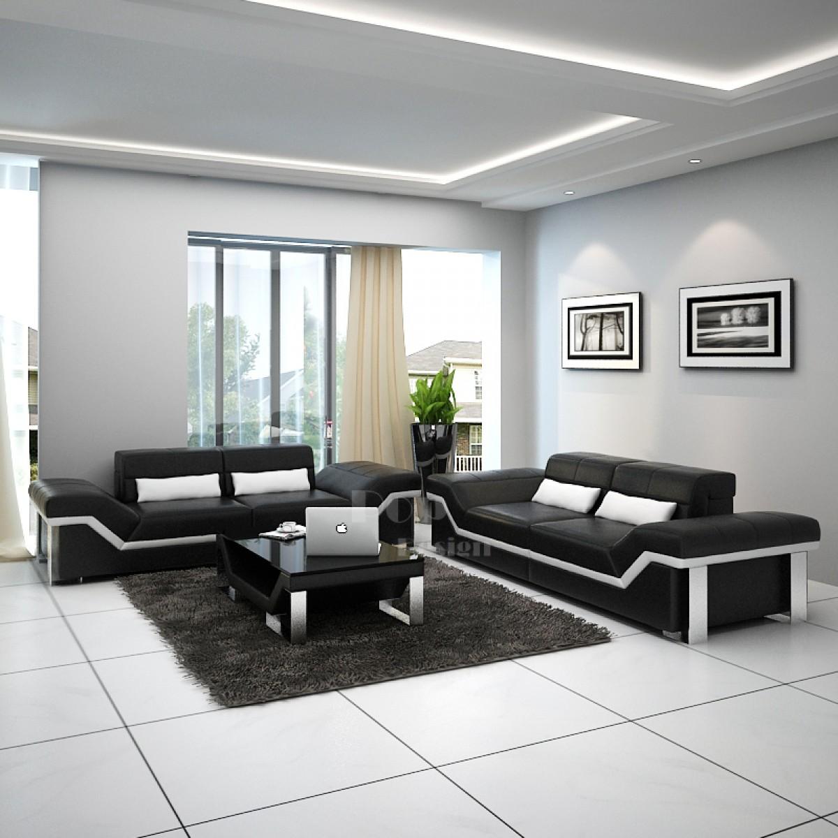 Salon set de canap s design 3 3 torino en cuir pop for Set de salon liquidation