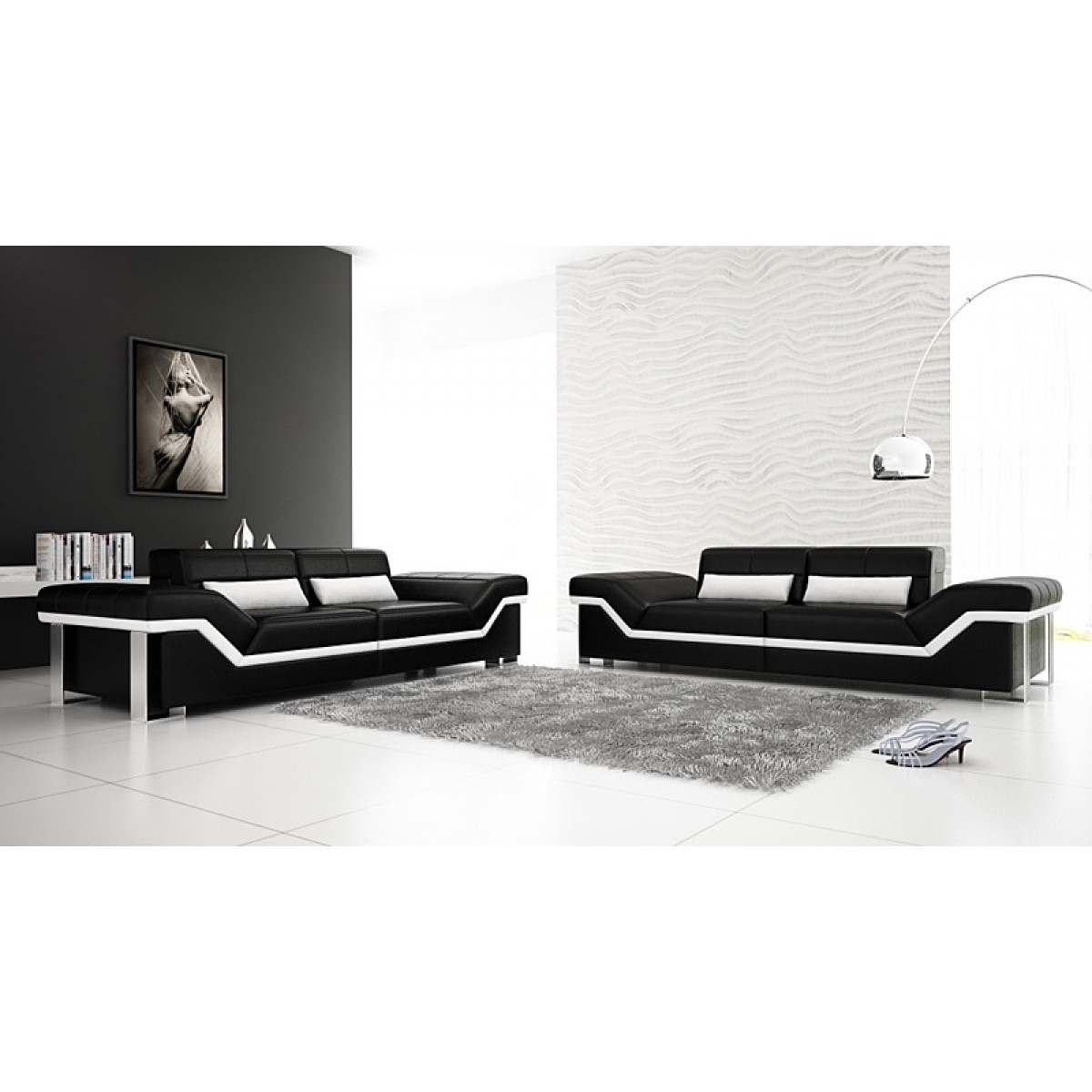 salon set de canap s design 3 3 torino en cuir pop. Black Bedroom Furniture Sets. Home Design Ideas