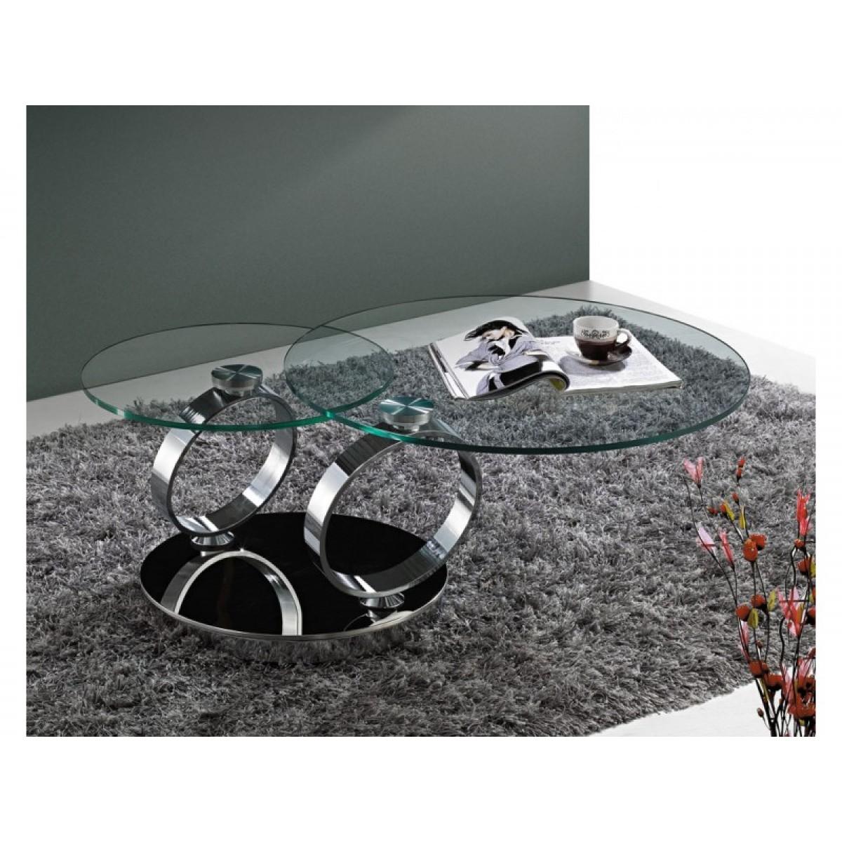 Table basse ronde pivotante BASILOS socle inox effet miroir   pop ...