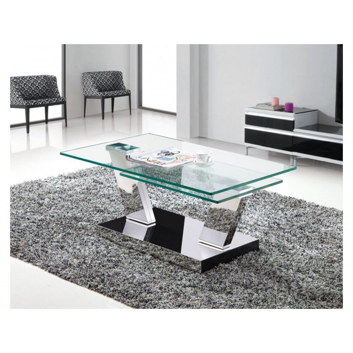 Table basse double plateaux transparents carr s chrom s - Table basse contemporaine design ...