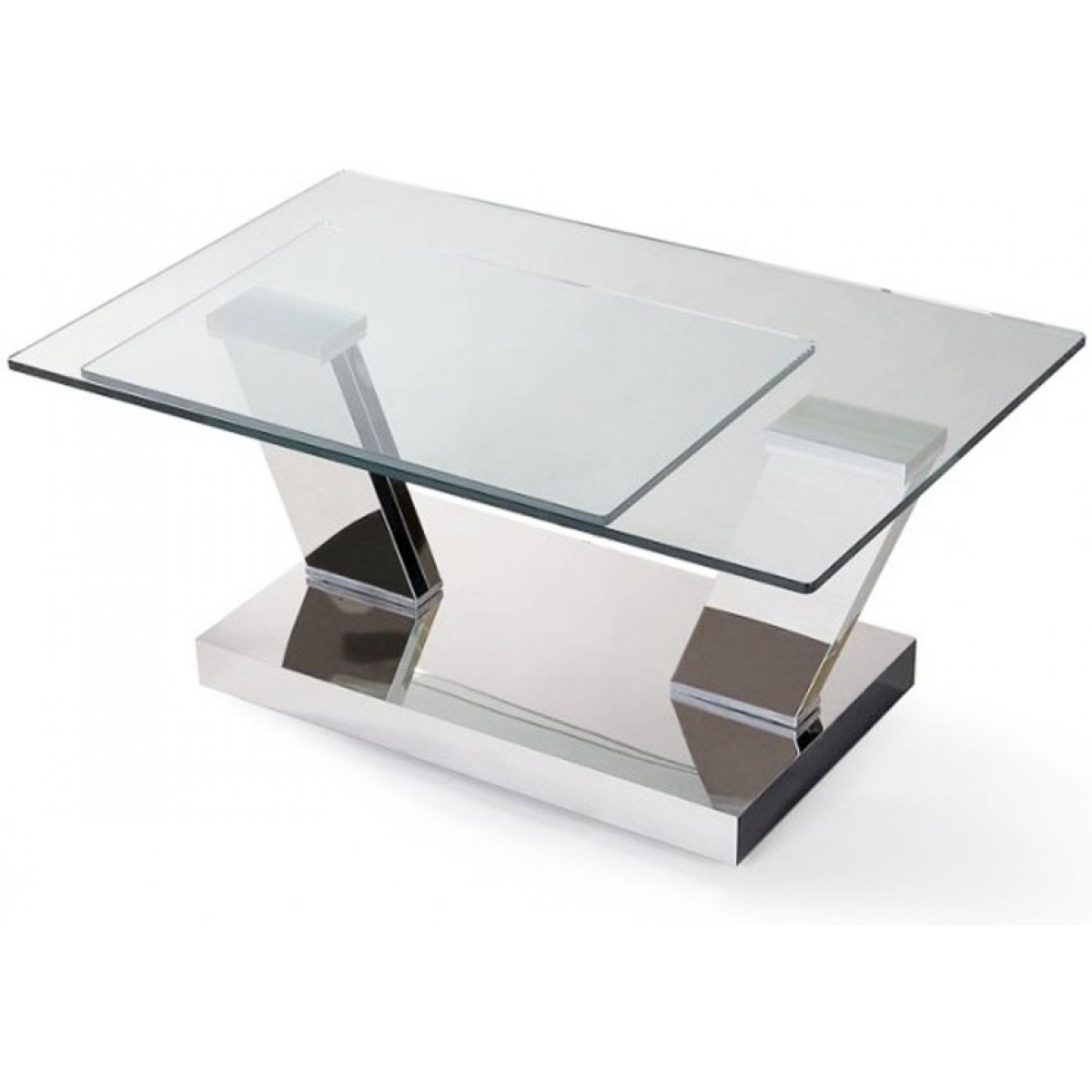 Table basse double plateaux transparents carr s chrom s briega pop - Table salon verre design ...