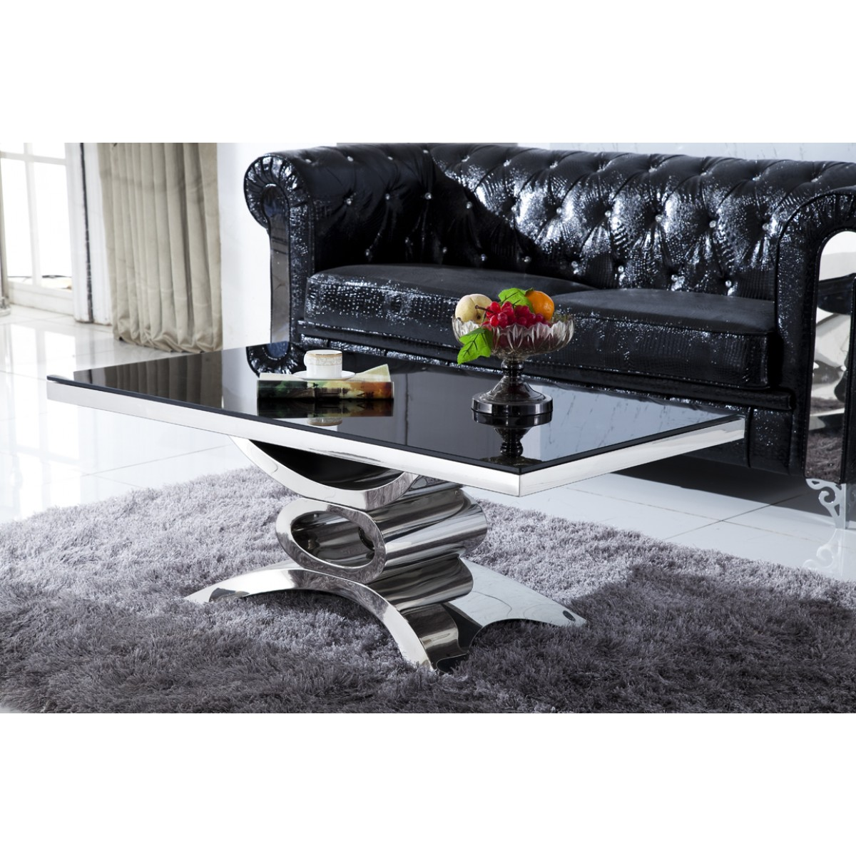 table basse en inox et verre marbre jaipur tables basses tables consoles. Black Bedroom Furniture Sets. Home Design Ideas