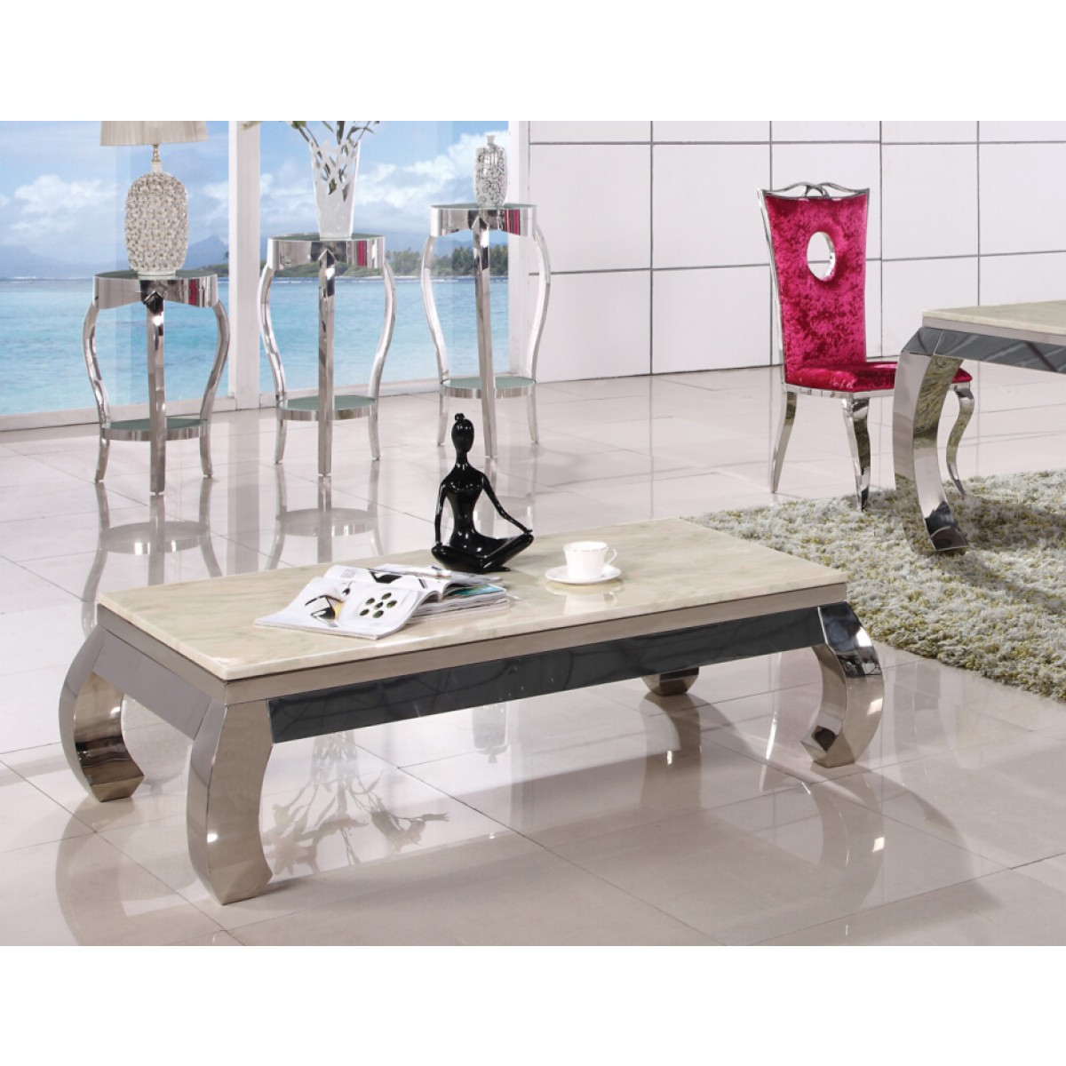 Table basse inox et verre marbre palace tables basses - Table basse marbre design ...