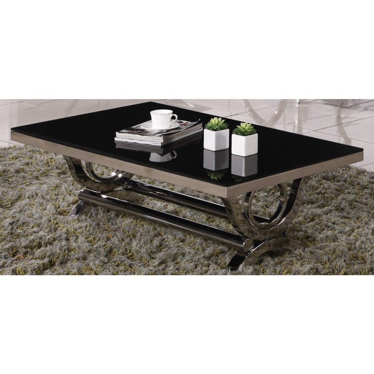 Table basse inox et verre marbre vienna for Vitre pour table basse