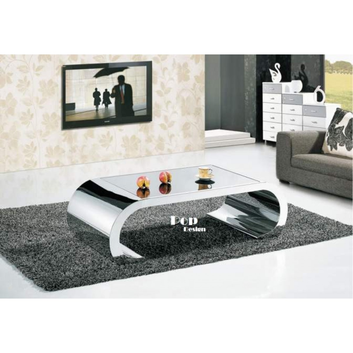 Table basse inox effet miroir daphne pop for Table basse miroir