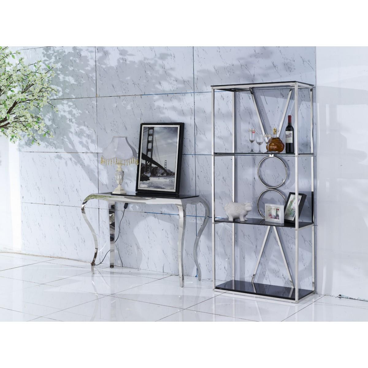 Table console en verre et inox princesse - Table basse verre et inox ...