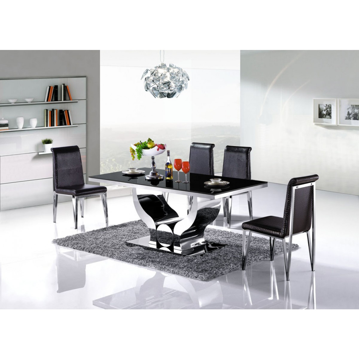 Table de salle manger en inox nova pop for Table salle a manger en marbre design