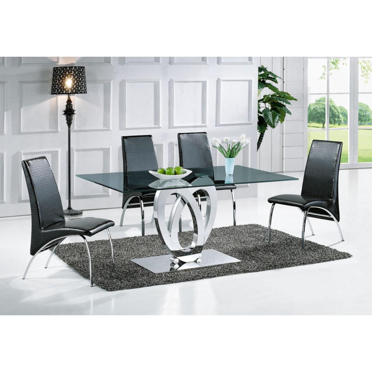 Table de salle à manger Design Ellipse 160x90 verre fumé ...