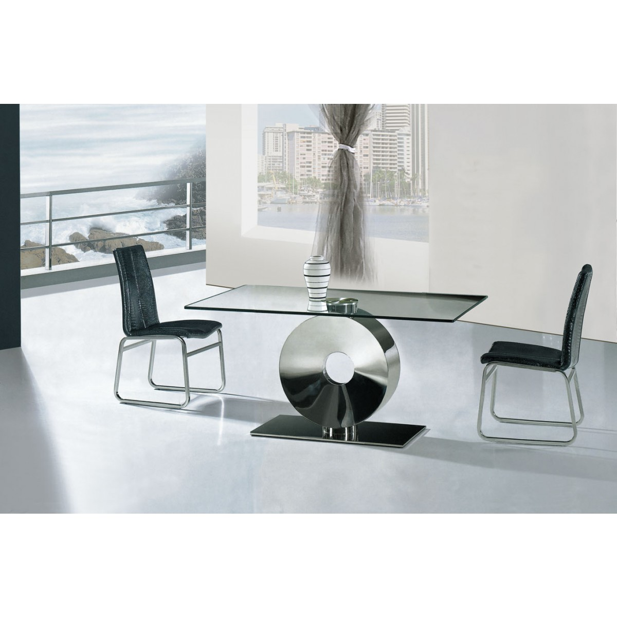 Table de salle manger design ring 160cm for Table salle manger noire design
