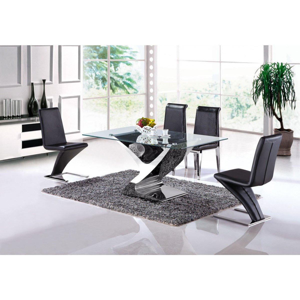 table de salle manger en inox selena pop. Black Bedroom Furniture Sets. Home Design Ideas