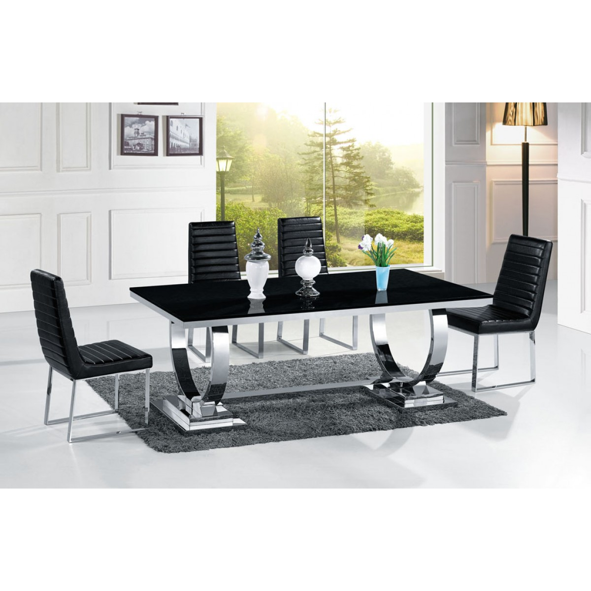 Table de salle manger en inox venezia mabre ou verre for Table de salle a manger 12 places