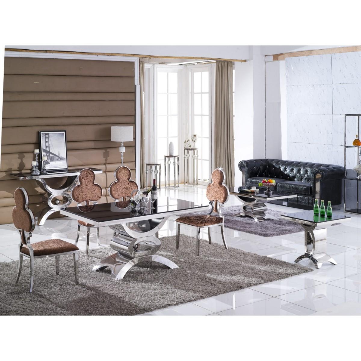 Table de salle manger en inox et verre marbre jaipur - Tables de salle a manger en verre ...