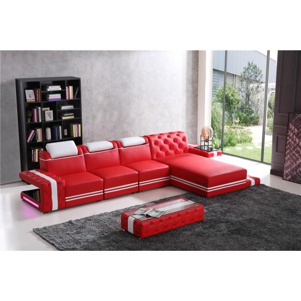Canapé d'angle en cuir Rolo - 403x196cm