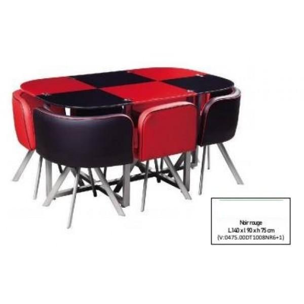 Table De Salle À Manger Damier Noir Rouge 6 Places 140x90