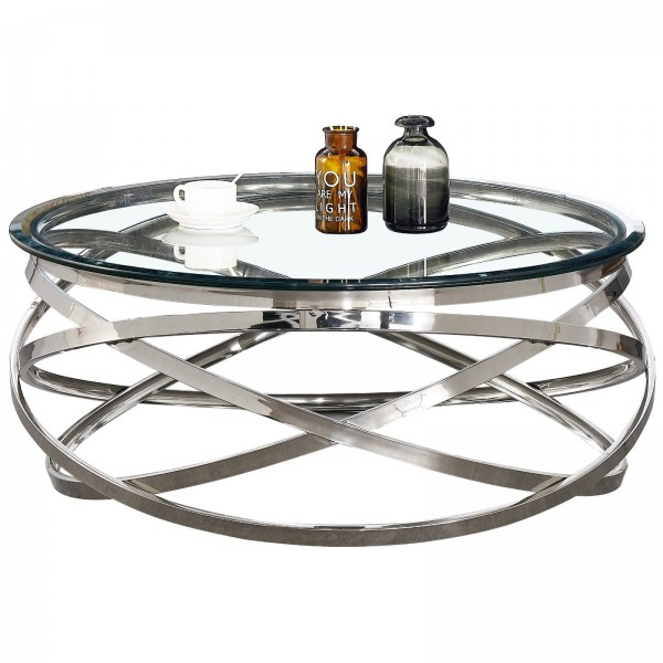 Table basse ronde Gravity chrome