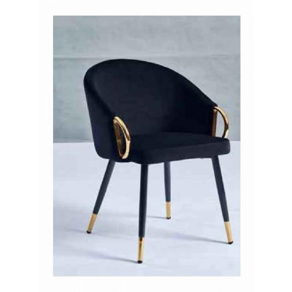 Chaise Julia dorée velours noir - Lot de 4