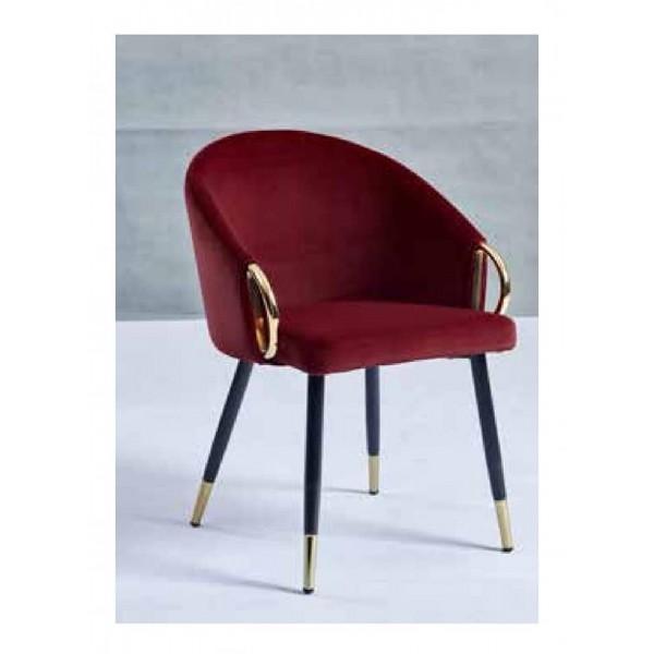 Chaises Julia dorées velours rouge - Lot de 4