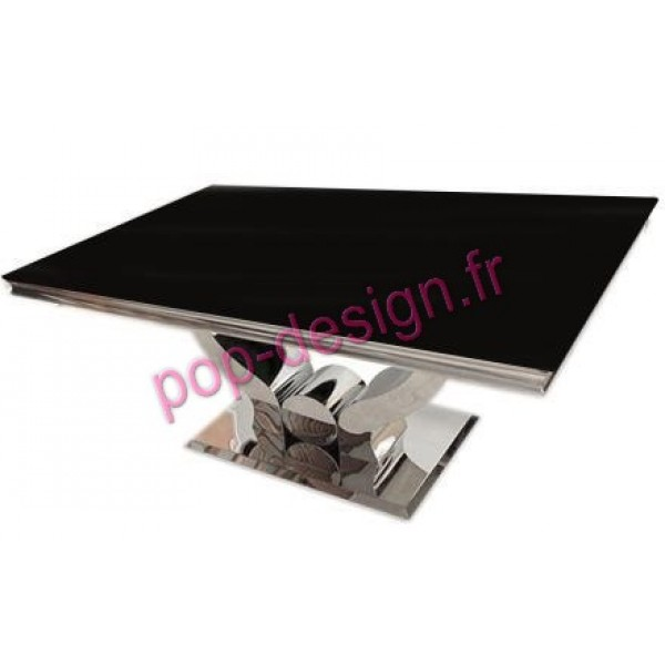 Table De Salle À Manger Nova verre Noir 150x90
