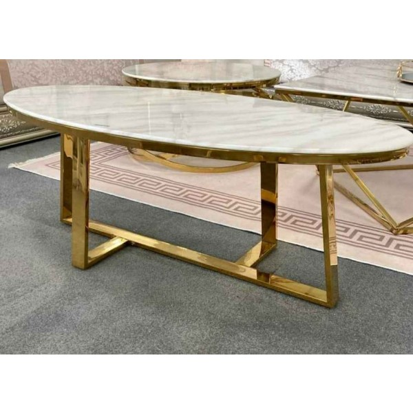 Superbe table basse ovale Opale gold