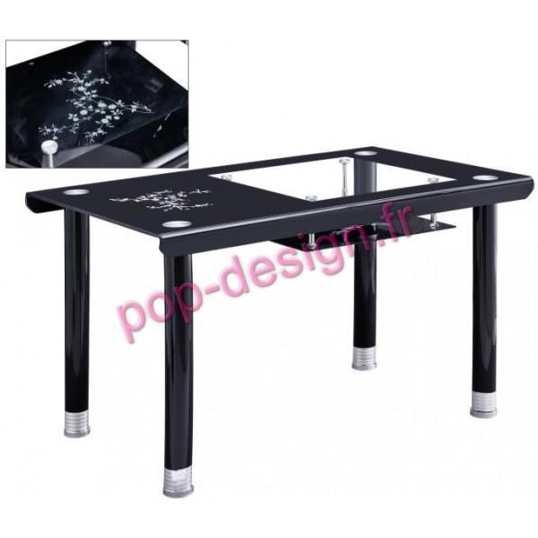 Table De Salle À Manger Fleur Noir Fleuri 130x70