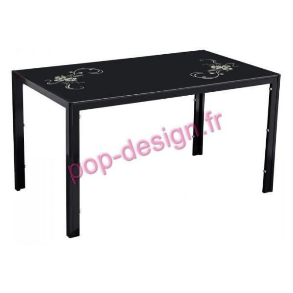 Table De Salle À Manger Sober Noir Fleuri 140x80
