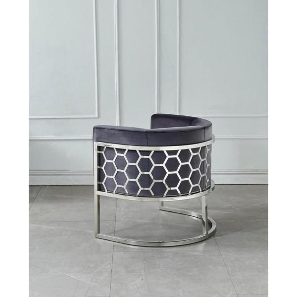 Superbe fauteuil design chrome inox ALVEOLE