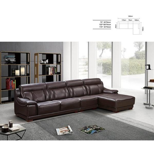 Canapé d'angle en cuir MINA (miniature)