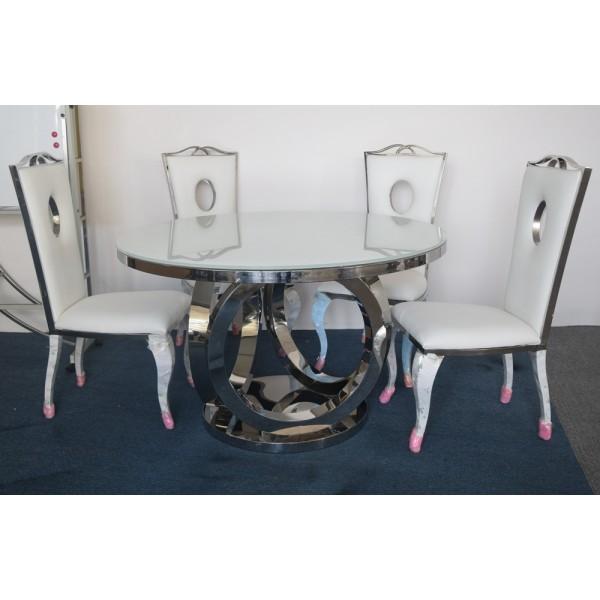 Table ronde en verre et inox SEPHORA