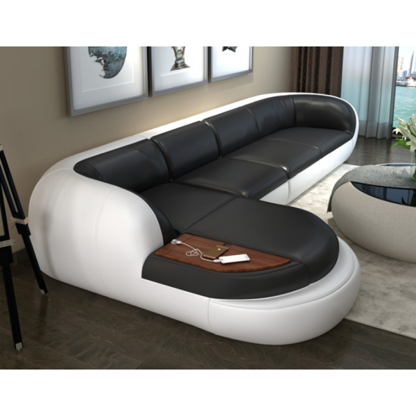 Canapé d'angle en cuir LAMO (miniature)