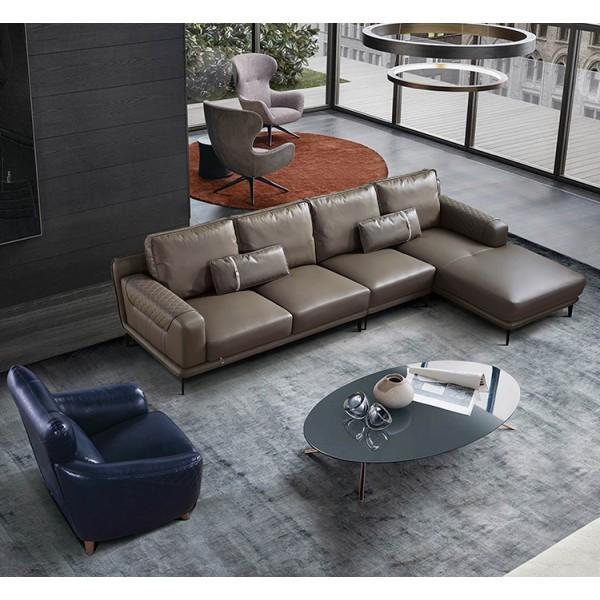 Canapé d'angle en cuir SILO (miniature)
