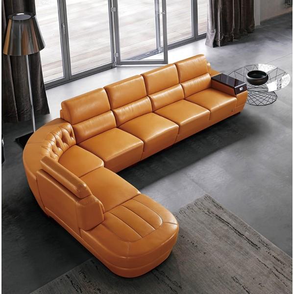 Canapé d'angle en cuir FALO (miniature)