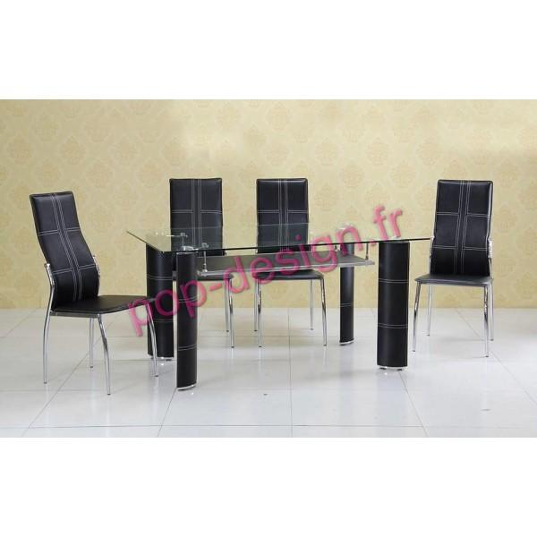 Table De Salle À Manger Mixite Noir Verre Transparent