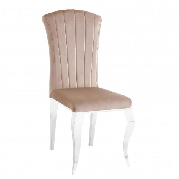 Chaises de salle à manger ALICE  inox argenté en velours Moka - lot de 6