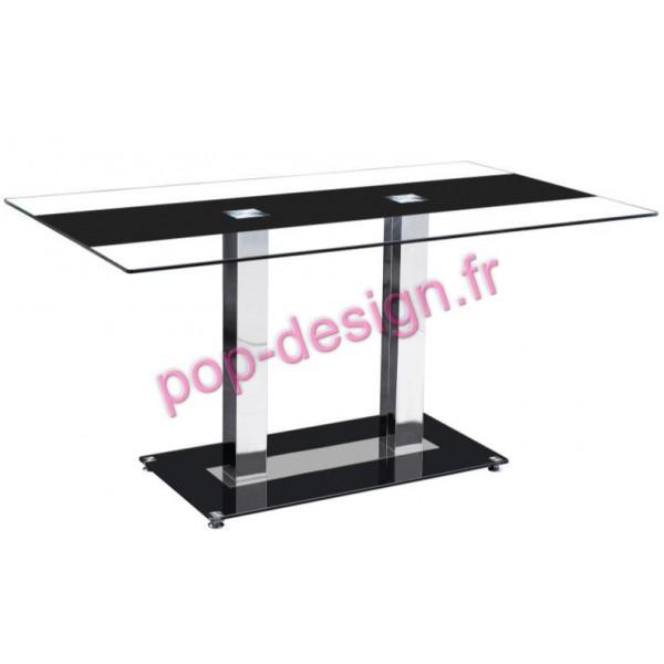 Table De Salle À Manger Maxence Noir Transparent 150x90