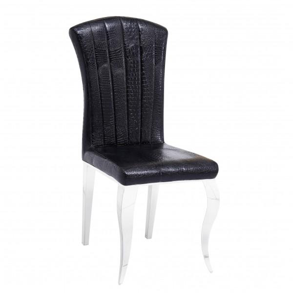 Chaises de salle à manger ALICE en simili-cuir Noir Croco - lot de 6