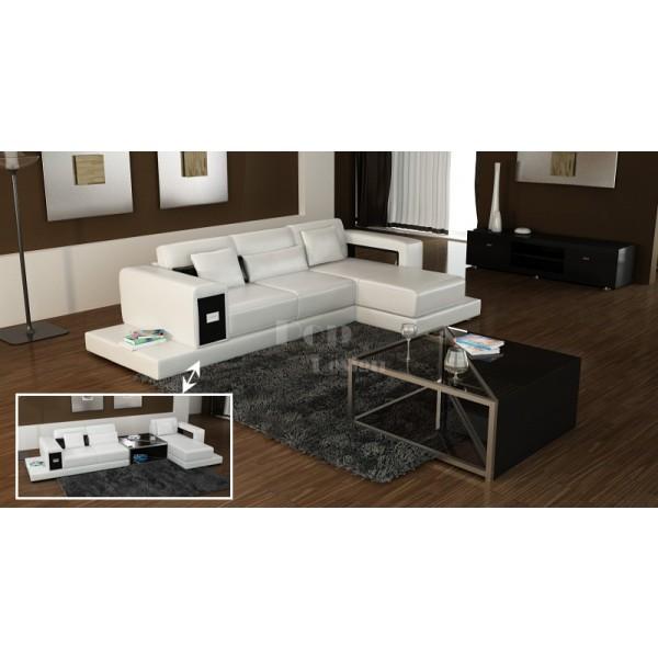 Canapé d'angle design en cuir Arezzo + Table basse intégrée