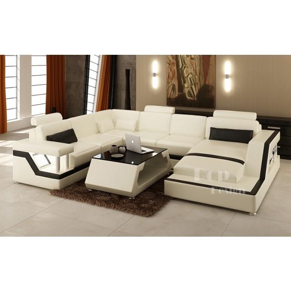 Canapé d'angle Panoramique Design en cuir de luxe Tosca XL + éclairages . Modèle présenté : couleurs Blanc ivoire (318) et  Noir (005) angle droit