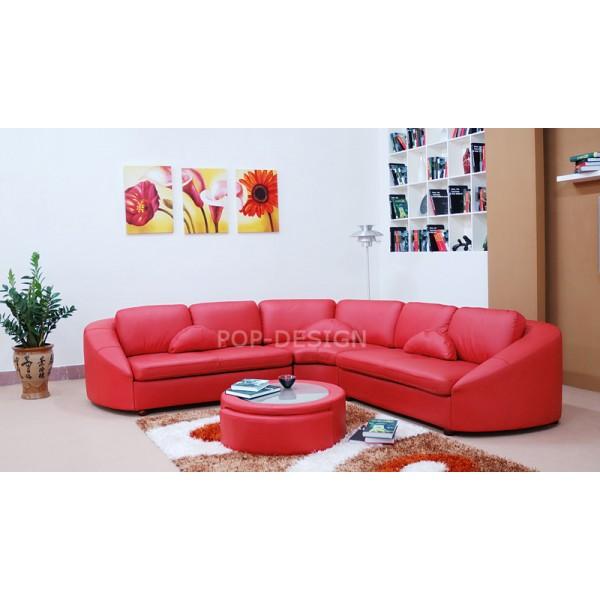 Canapé d'angle en cuir 5 places - AQUILOS