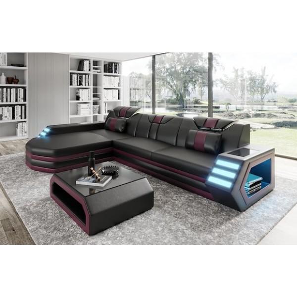 Canapé d'angle en cuir Luma
