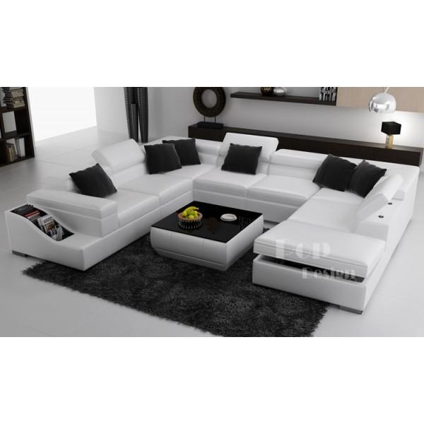 Canapé d angle panoramique en cuir JAZZY