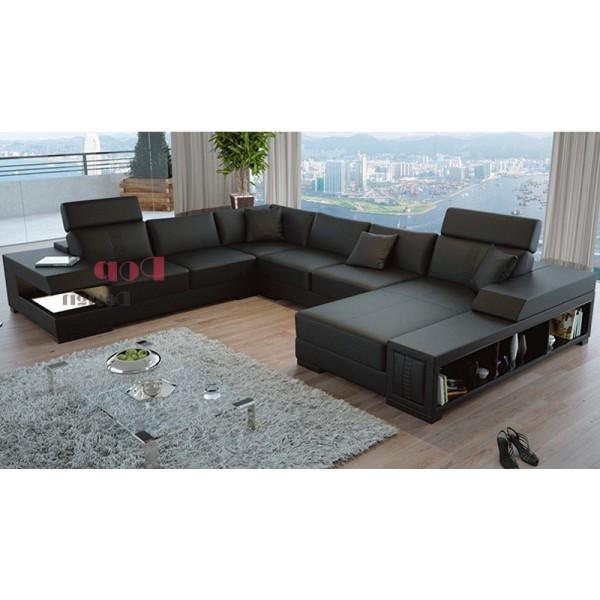 Canapé d'angle panoramique en cuir véritable Santiago avec éclairages et rangements