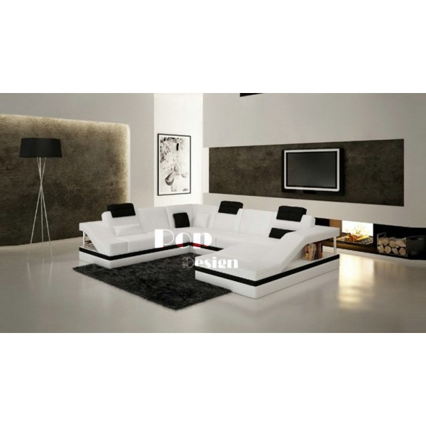 Canapé d'angle design panoramique en cuir véritable Toronto