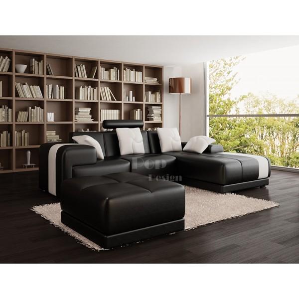 Canapé d'angle en cuir Rimini + pouf