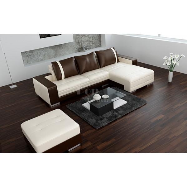 Canapé d'angle Design en cuir de luxe Roma - angle présenté : angle droit
