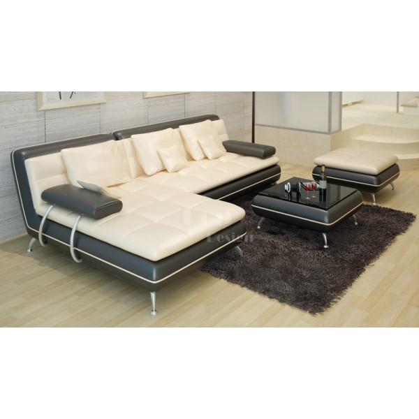 Canapé d'angle en cuir Tolentino + Pouf