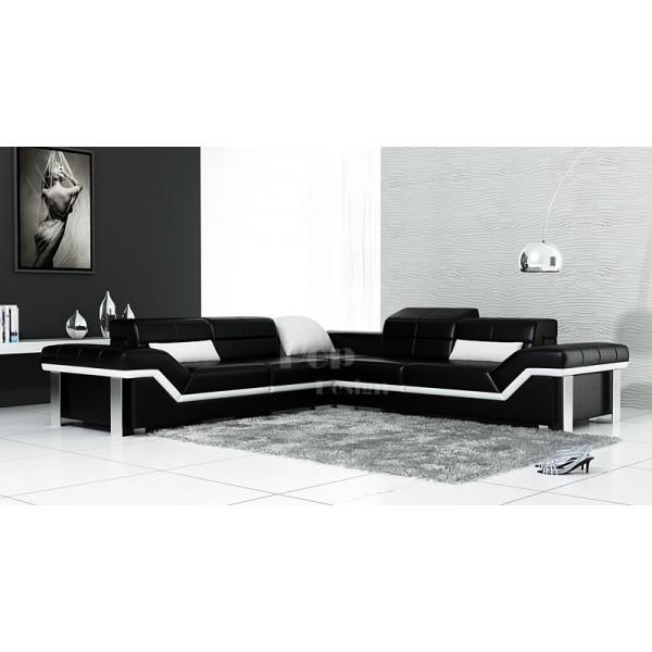 Canapé d'angle en cuir Design Torino L