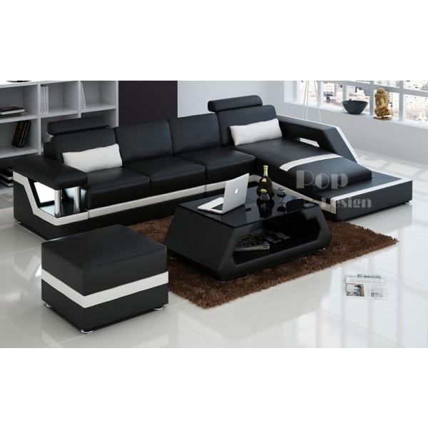 Canapé d'angle Design en cuir de luxe Tosca , couleurs  noir (005) et blanc (201) , angle droit