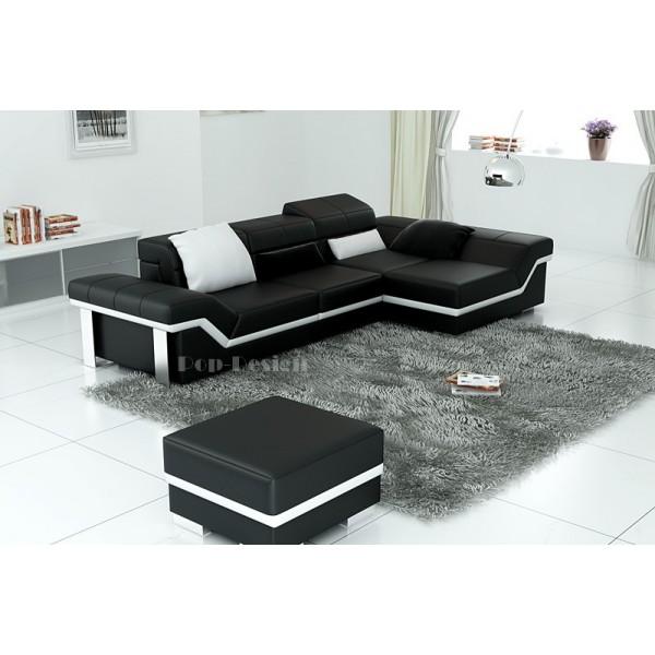 Canapé d'angle design en cuir Torino + Pouf