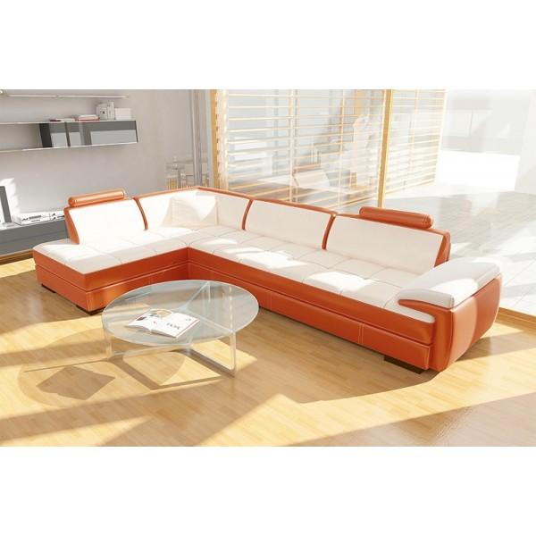 Canapé d'angle en cuir GEMMA